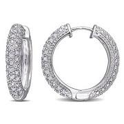 Miabella 1/2 CT TW Diamond Hoop Earrings in Sterling Silver