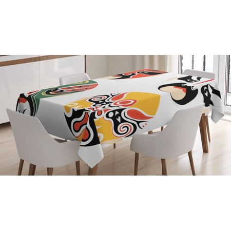 Cultural Costumes (Kabuki Mask Decoration Tablecloth, Cultural Drama Costumes Artistic Orient Masks Ethnic Mystic Details, Rectangular Table Cover for Dining Room Kitchen, 52 X 70 Inches, Multicolor, by)