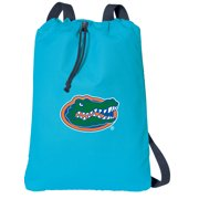 Canvas Florida Gators Drawstring Backpack Aqua Natural Cotton University of Florida Cinch Bag with Wide Straps