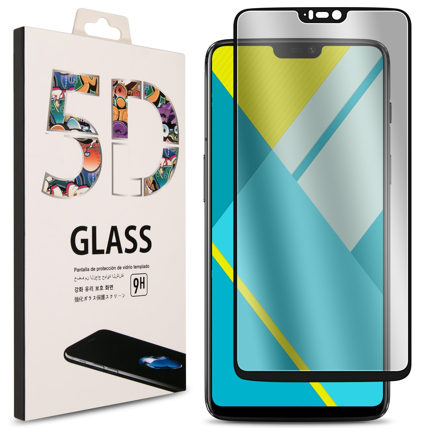 CoverON OnePlus 6 Tempered Glass Screen Protector - InvisiGuard 2.0 Series Full Coverage 9H with Faceplate (Case Friendly)