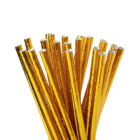 Party Paper Straws, Gold 24Pcs - LivingBasics™ - image 3 de 3