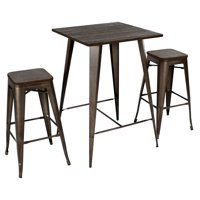 Oregon 3-Piece Industrial Pub Set in Antique and Espresso by LumiSource