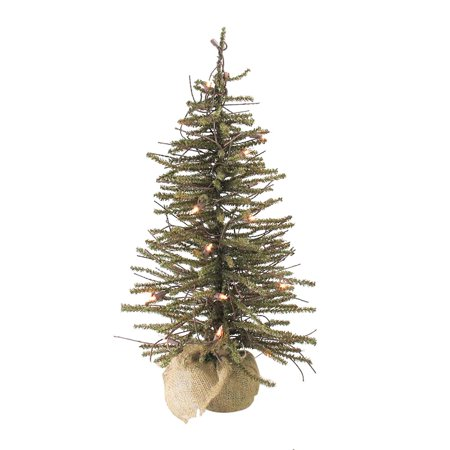 3' Pre-Lit Warsaw Twig Artificial Christmas Tree in Burlap ...