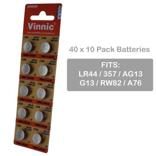 40 x 10pk Vinnic Size LR44 V357 357 AG13 Alkaline Watch B...