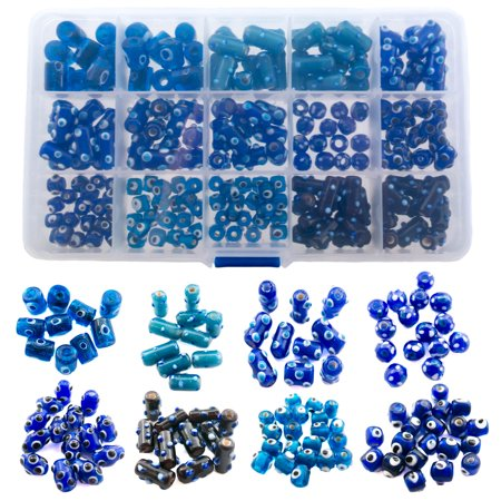 180 Pieces Evil Eye Glass Beads for Jewelry Making - DIY Starter Kit for Adults - Free Leather Necklace and Bracelet for Inspiration - Wholesale Craft Supplies