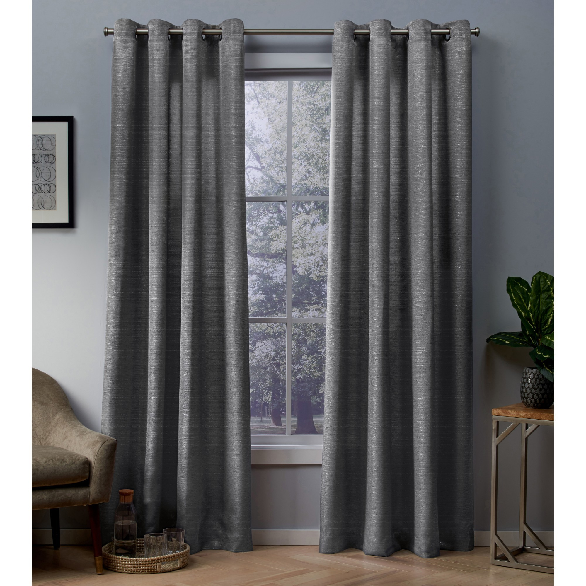 Exclusive Home Curtains 2 Pack Whitby Metallic Slub Yarn Textured Silk Look Grommet Top Curtain Panels