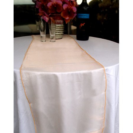 Quasimoon Organza Table Runner - Peach / Orange Coral by PaperLanternStore (Coral Table Runner)