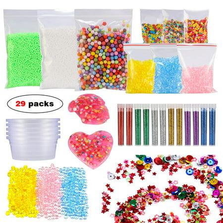 Glonova 29 Packs Slime Making Kits, DIY Art Craft for Homemade Slime set,Including Fishbowl Beads, Foam Balls, Glitter Shake Jars, Fruit Flower Candy Slices Accessories