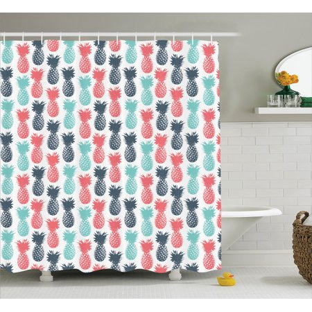 Pineapple Decor Shower Curtain Island Tropic Fruit Pattern Minimal Backdrop Pop Art Print