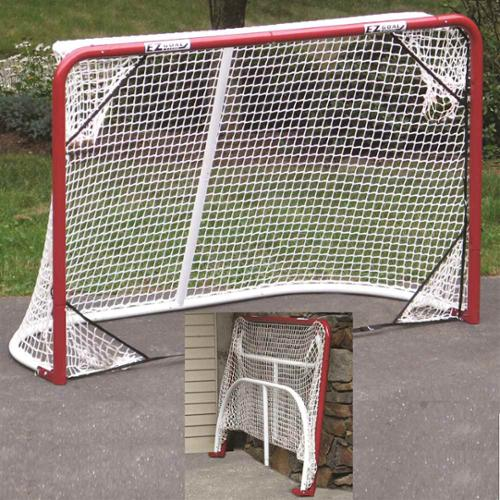 Folding Metal Hockey Goal in Red w Targets