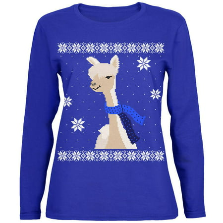 Big Alpaca Scarf Ugly Christmas Sweater Womens Long Sleeve T Shirt ()