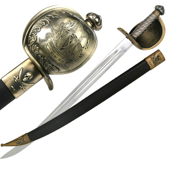 Pirate of Caribbean Cutlass Sword with Basket Guard