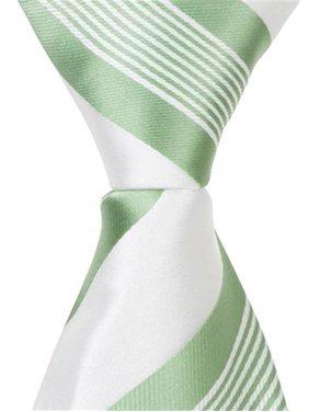 64edb20983d5 Product Image Matching Tie Guy 5280 XG25 - 15.25 in. Zipper Necktie - White  With Green Stripes