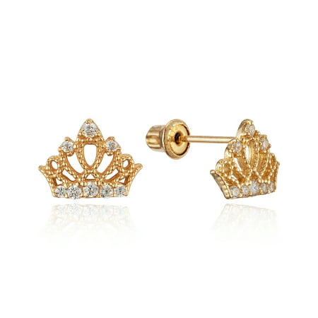 14k Yellow Gold Princess Crown Cubic Zirconia Children Screwback Baby Girls Stud Earrings](Jewelry For Kids)