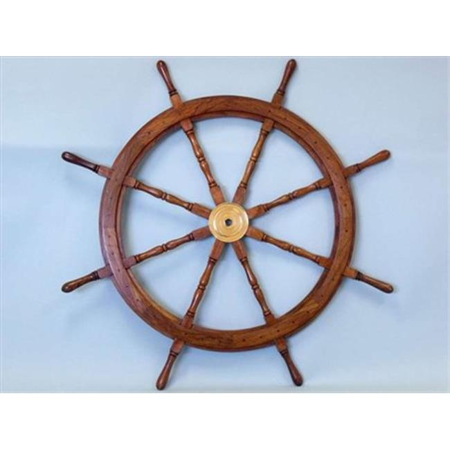 Handcrafted Model Ships SW 1712 Deluxe Class Wood And Brass Ship Wheel 48  In.