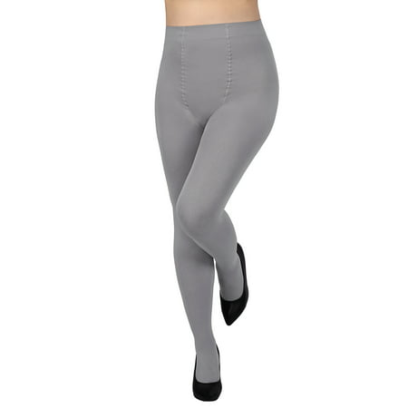 HDE Women's Control Top Tights High Waist Pantyhose Opaque Stockings (Gray)