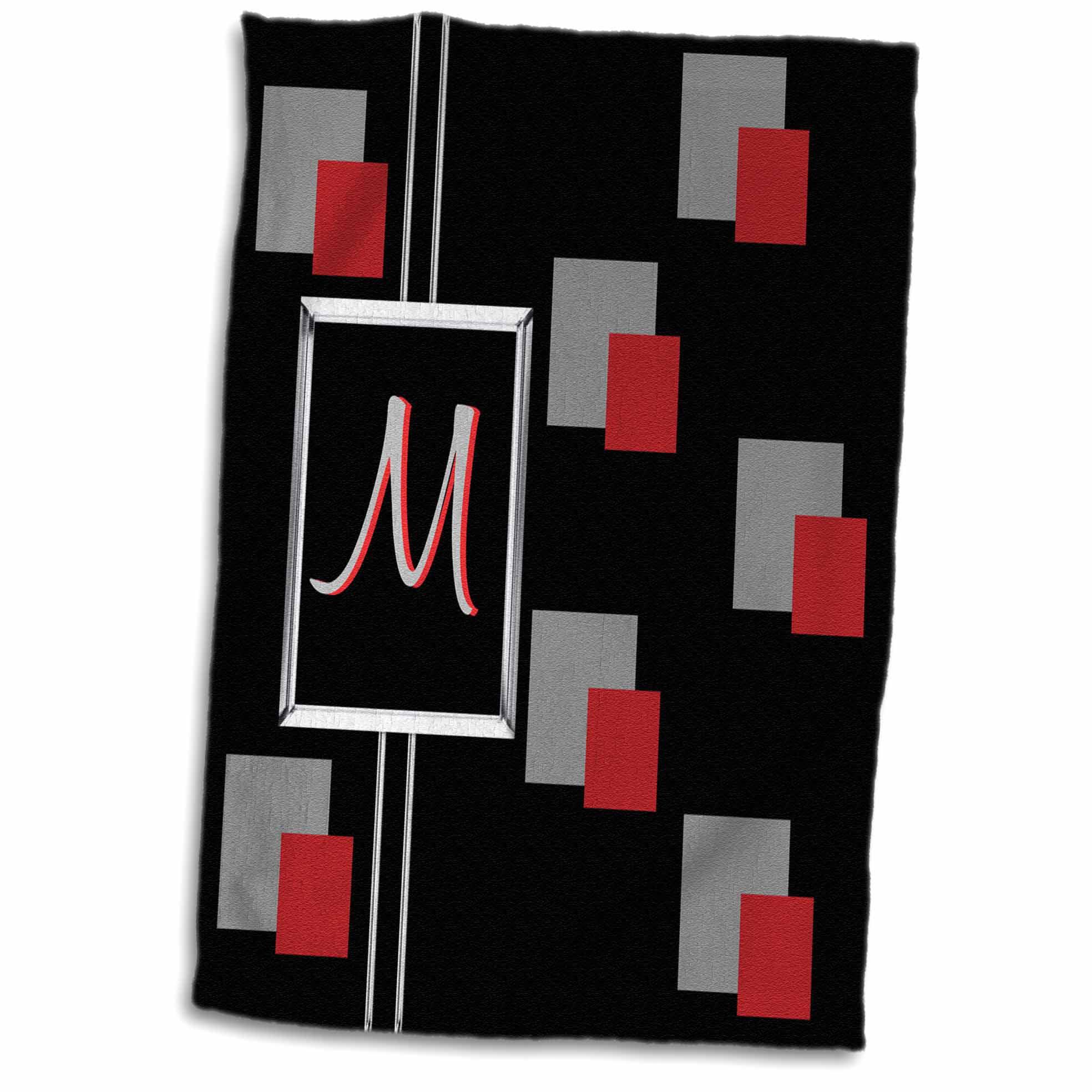 3dRose Modern Geometric Black Red Grey Square Pattern Monogram Letter M - Towel, 15 by 22-inch