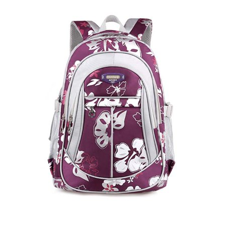 Coofit School Backpack For Girls Flowers Pattern Backpacks For