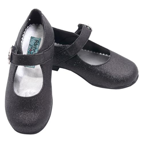 Rachel Shoes Mary Jane Christina Black Glitter Shoes 6.5 Toddler
