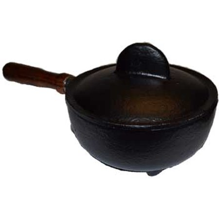 """Wood Burning Fireplace Accessories Cauldrons Plain Cast Iron with Stick Handle and Lid 3 1/2"""""""