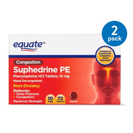 (2 Pack) Equate Congestion Suphedrine PE Nasal Decongestant Tablets, 10 mg, 72 (Best Medicine For Sinus Congestion)