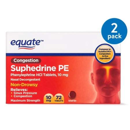(2 Pack) Equate Congestion Suphedrine PE Nasal Decongestant Tablets, 10 mg, 72 Ct