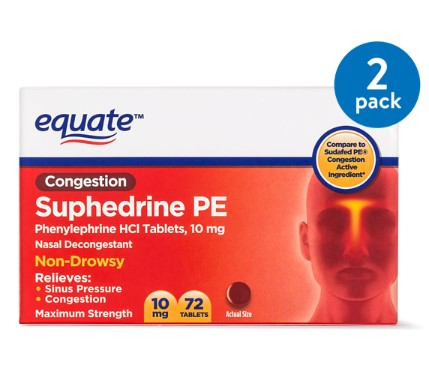 Equate Congestion Suphedrine PE Nasal Decongestant Tablets, 10 mg, 72 Ct