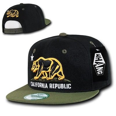 Republic Olive (Black Olive Green California Republic Bear Flat Bill Snapback Snap Back Cap Hat)