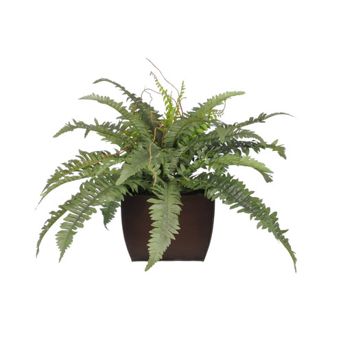 House of Silk Flowers Inc. Artificial Fern Desk Top Plant in Decorative Vase