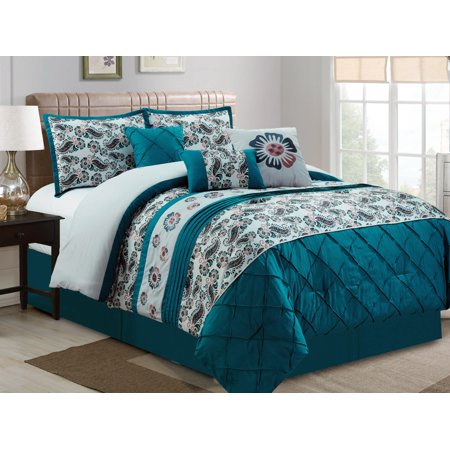 7-Pc Dally Floral Paisley Diamond Pleated Embroidery Comforter Set Teal Blue Gray Ivory Queen