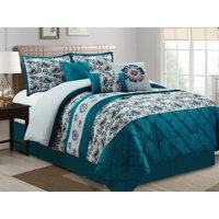 11-Pc Dally Floral Paisley Diamond Pleated Embroidery Comforter Curtain Set Teal Blue Gray Ivory Queen