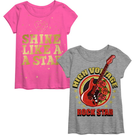 Girls' Shine and Rock Star Graphic 2 pack T-Shirts - Buy Girl Online