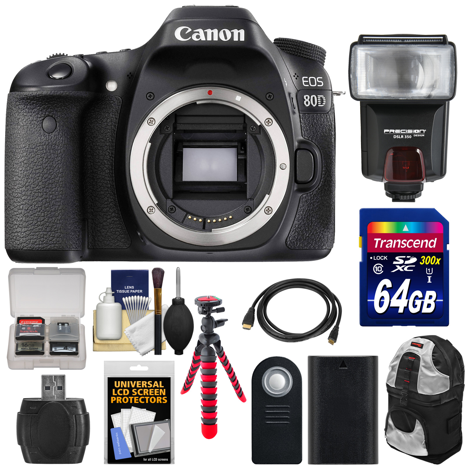 Canon EOS 80D Wi-Fi Digital SLR Camera Body with 64GB Card + Battery + Backpack + Flash + Flex Tripod + Kit by Canon