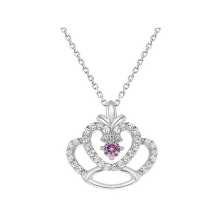 In Season Jewelry Rhodium Plated Princess Crown Pendant Pink Clear Crystal Girls Kids Necklace 16
