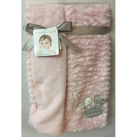Blankets Beyond Super Soft Pink Baby Blanket With Bird Appliques