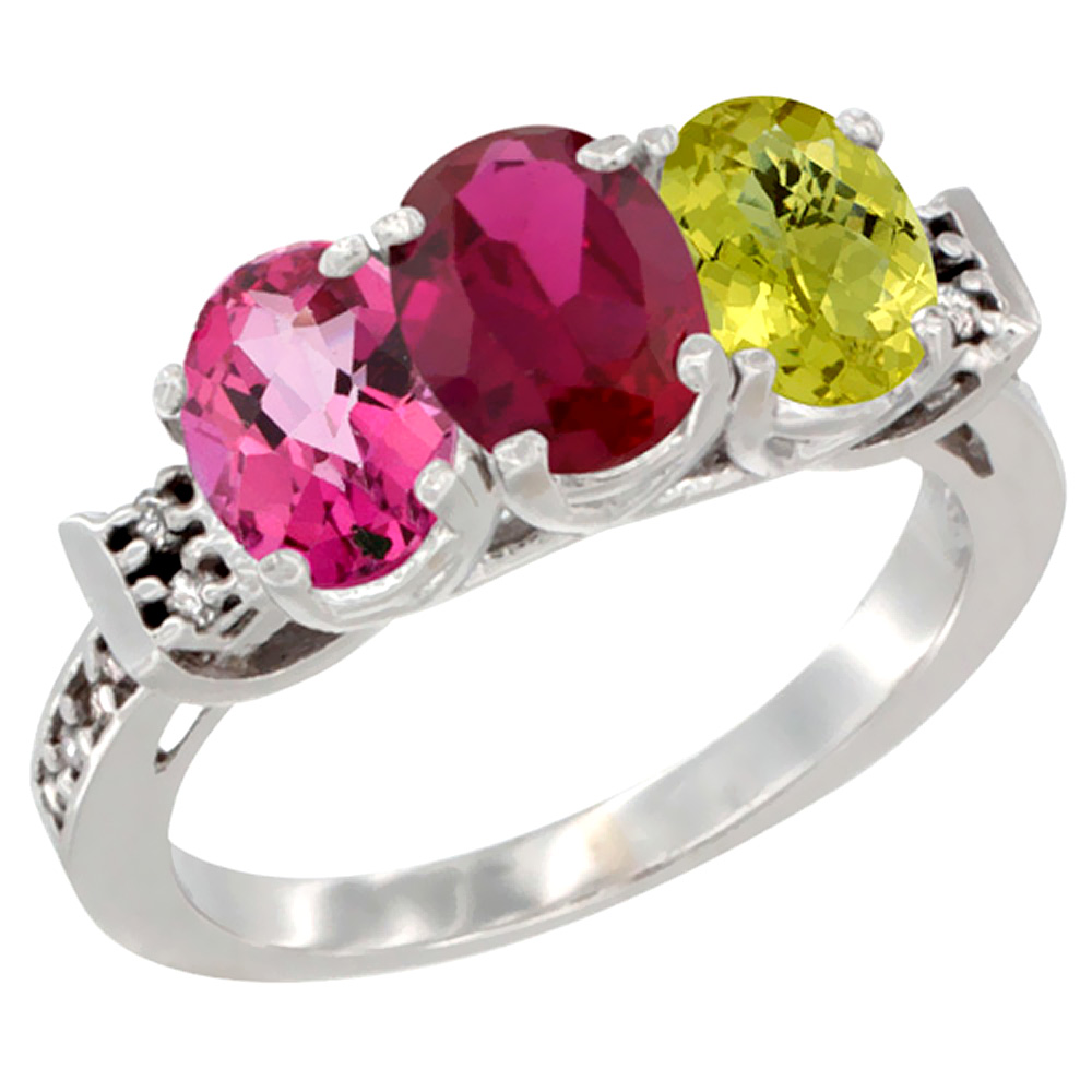 10K White Gold Natural Pink Topaz, Enhanced Ruby & Natural Lemon Quartz Ring 3-Stone Oval 7x5 mm Diamond Accent, sizes 5... by WorldJewels
