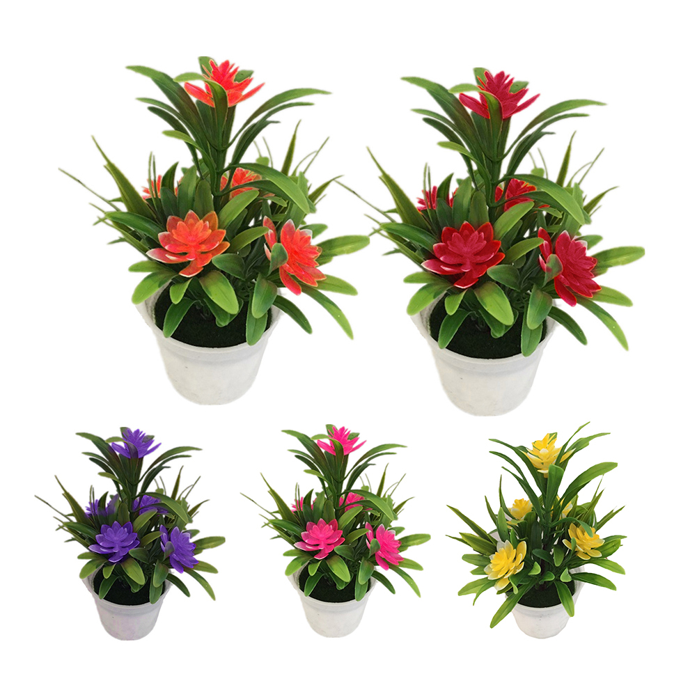 Heepo Artificial Fake Lotus Flower Potted Plant Bonsai Wedding Party Garden Home Decor