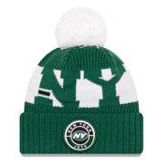 New York Jets New Era 2020 NFL Sideline Official Sport Pom Cuffed Knit Hat - Green/White - OSFA