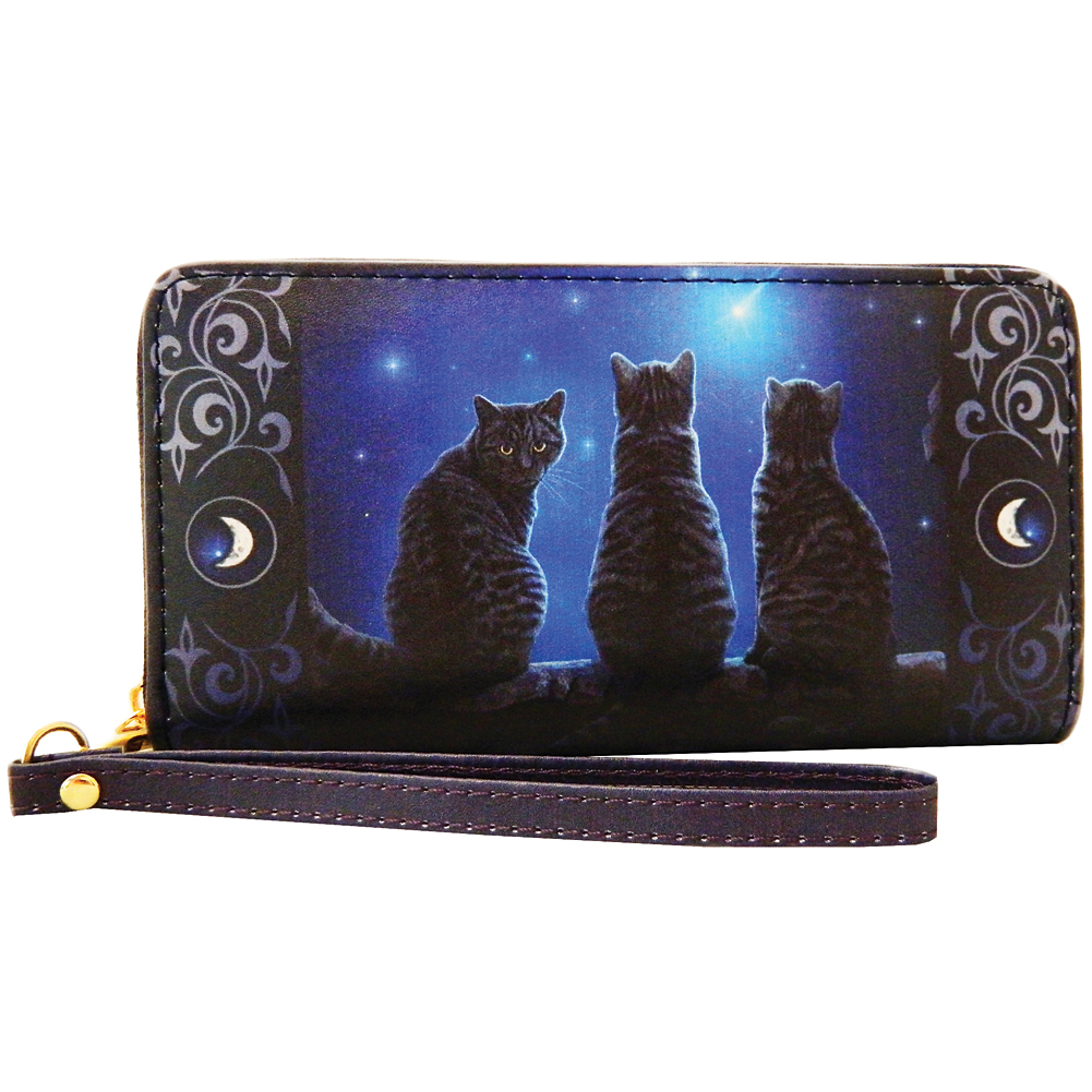 3 Kitties Wish Upon a Star Card Gray Tabby Cat Greeting Card by Lisa Parker