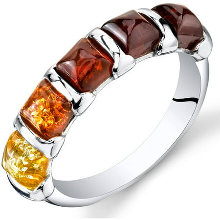 Five Stone Amber Ring Sterling Silver Multiple Color Sizes 5-9 SR11312 Oval Shape Amber Ring