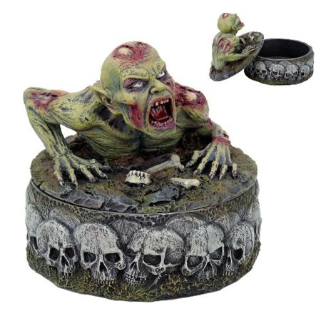 UNDEAD PEELING FLESH ZOMBIE CRAWLING OUT OF GRAVE JEWELRY BOX STATUE SKULL (Crawling Zombie)