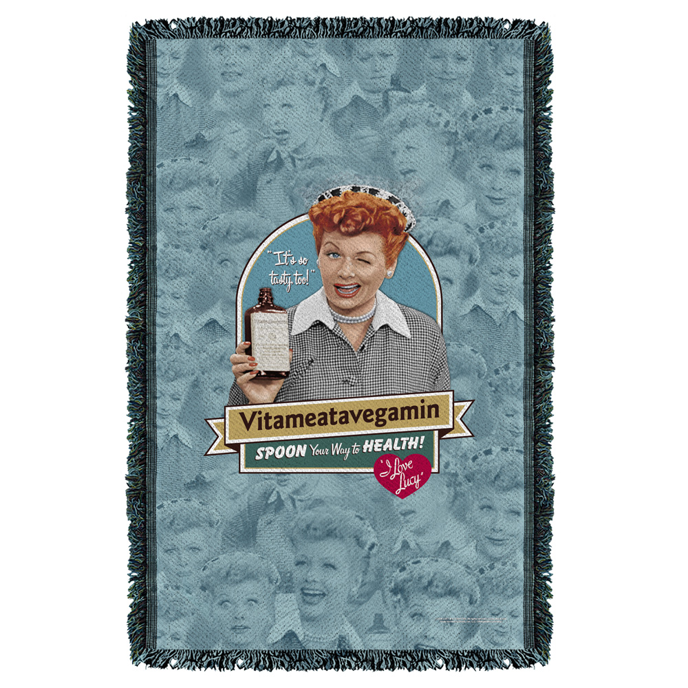 I Love Lucy Vitameatavegamin Woven Throw Tapestry 36X60 White One Size