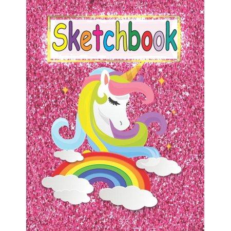 Sketchbook Cute Unicorn Pink Glitter Effect Background Large Blank Sketchbook For Girls Blank Paper For Drawing Doodling Or Sketching Sketchbooks For Kids Volume 3 Walmart Com