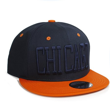 American Cities Chicago IL Flat Bill Block Script City Snapback Hat Cap