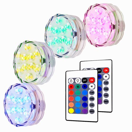 Submersible Collection - Submersible LED Lights, RGB Multi Color Waterproof Remote Control Battery Powered Vase Lights for Fountain Pool Hot Tub Wedding Pond Decoration Centerpieces Vase Party - 4 Packs
