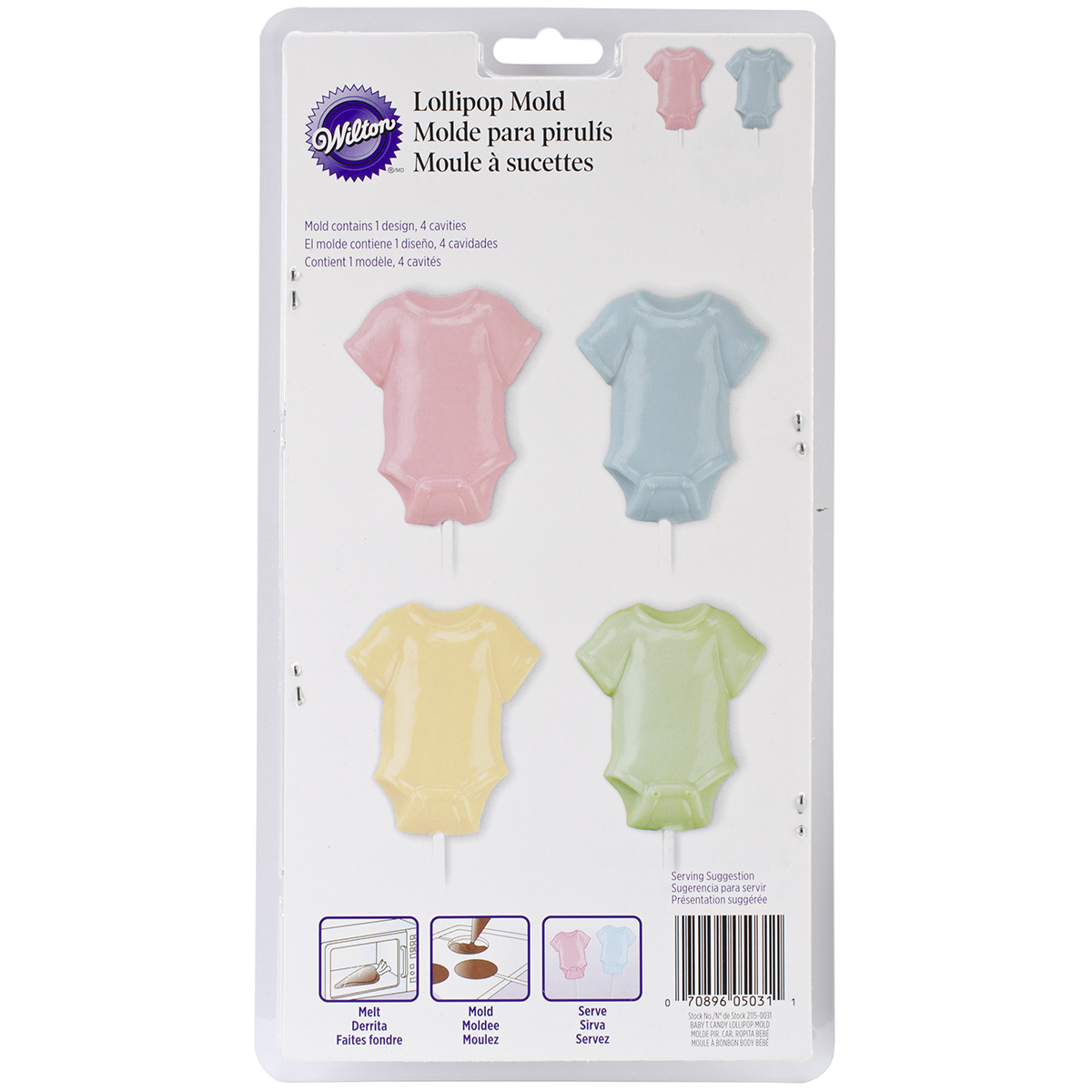 Wilton 4-Cavity Lollipop Mold Baby Tee