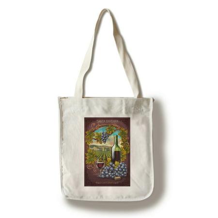 Santa Barbara, California - Merlot - Lantern Press Poster (100% Cotton Tote Bag - (Family Merlot)