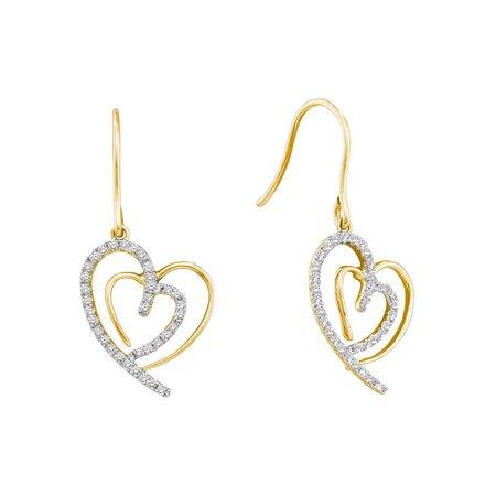 10K Yellow Gold Diamond Lovely Sparkling Heart Dangle Earrings 3/8 Ctw. - Lovely Diamond Heart