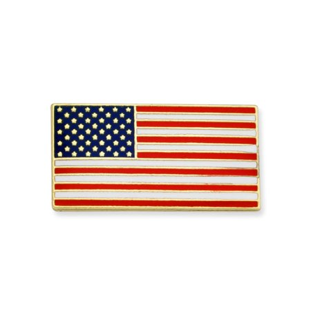Official Rectangle Patriotic American Flag USA Lapel Pin 3/4W x 3/8H