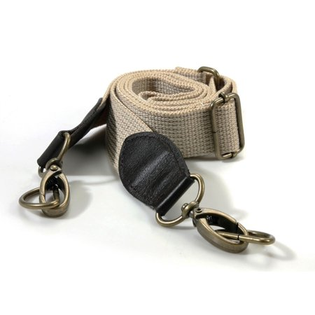 Webbing Adjustable Crossbody Bag Strap with Genuine Leather Tab/Bronze Style Ring, Beige